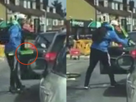 Angry cyclist attacks elderly driver and his disabled passenger