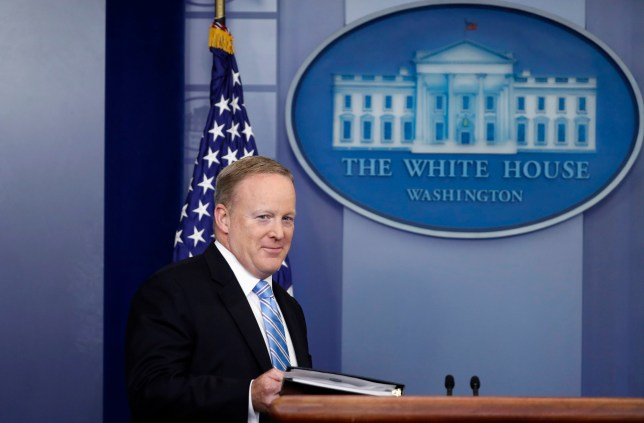 White House press secretary Sean Spicer arrives for the daily news briefing at the White House in Washington, Monday, June 26, 2017. (AP Photo/Alex Brandon)