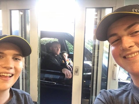 Wayne Rooney is not impressed after being snapped in McDonald's Drive-Thru selfie