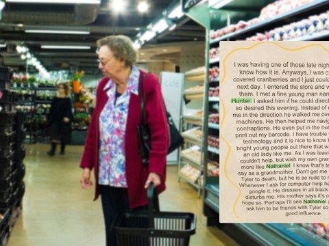 Grandma pens lovely note to store employee and totally destroys her grandson in the process