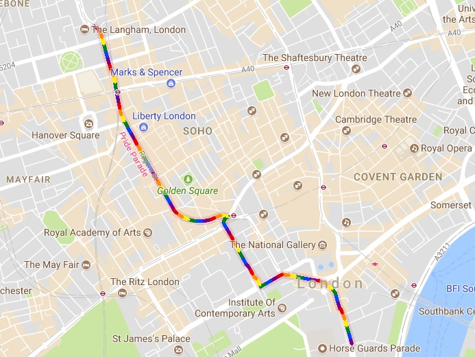 Google Maps celebrates LGBTQ* Pride in London Parade 2017 with a rainbow road