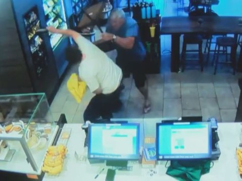 Starbucks customer takes down Optimus Prime robber WWE-style