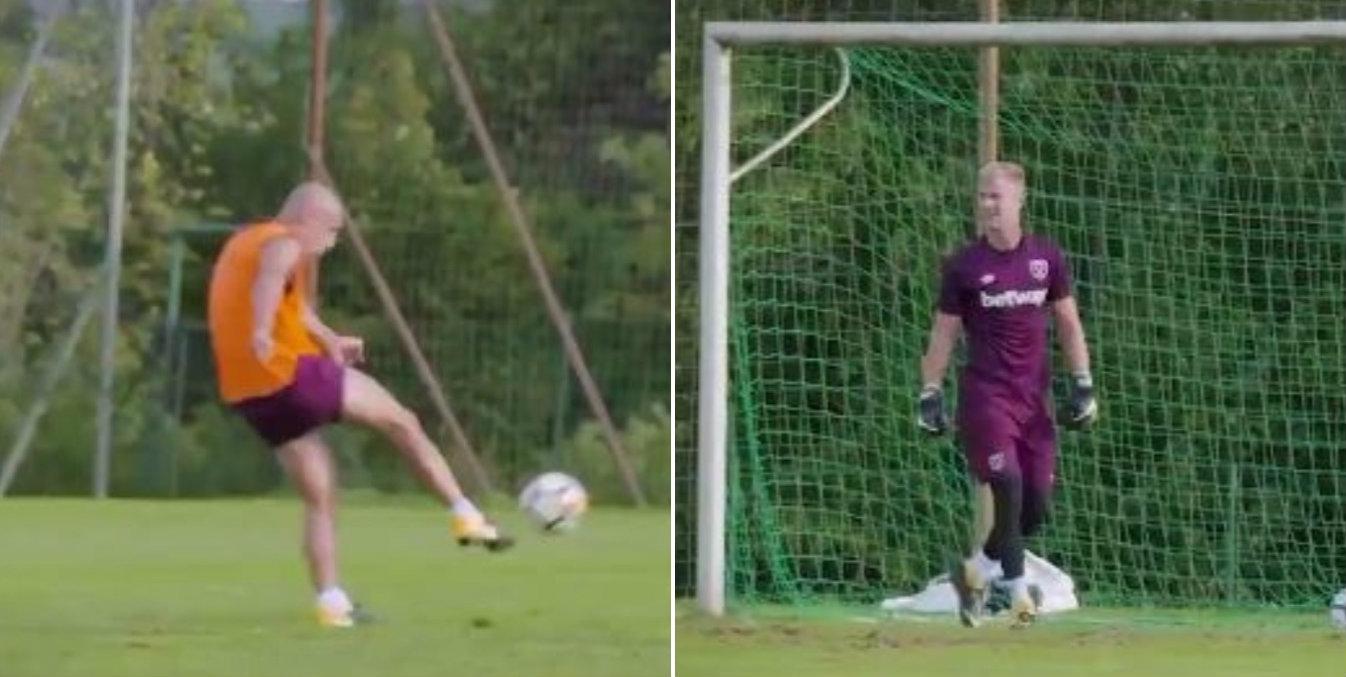 Pablo Zabaleta welcomes Joe Hart to West Ham with thunderbolt in training