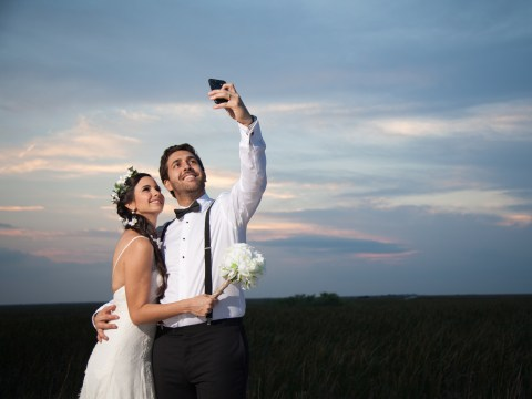 84% of brides use social media on their wedding day