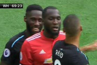 West Ham defender Arthur Masuaku spotted laughing at Romelu Lukaku just before the Man Utd striker scored