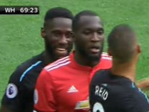 West Ham defender Arthur Masuaku spotted laughing at Romelu Lukaku just before the Man Utd striker scored