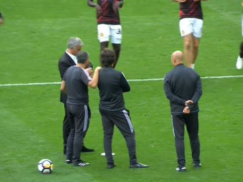 Jose Mourinho oversees post-match training session after thumping Manchester United win
