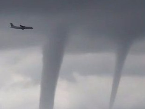 Terrifying footage shows plane dodge twisters as it comes to land