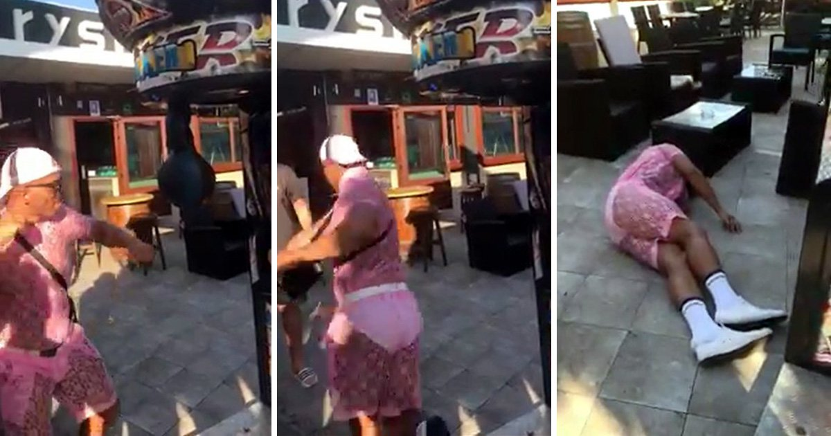 Stag falls flat on his face after hitting punch bag machine in Magaluf