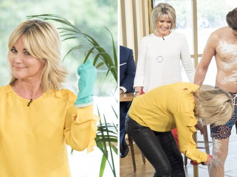 This Morning: Anthea Turner couldn't resist rubbing down a semi-naked man with talcum powder