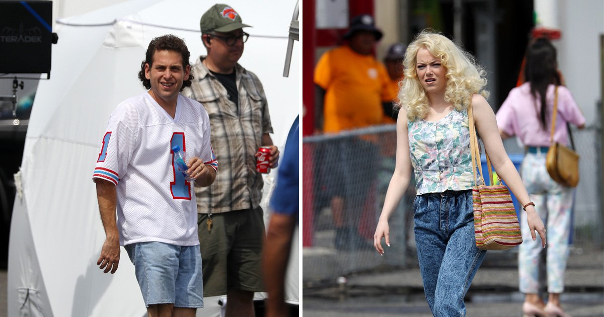 Emma Stone and Jonah Hill sport wild 80s hair on set of Netflix's Maniac
