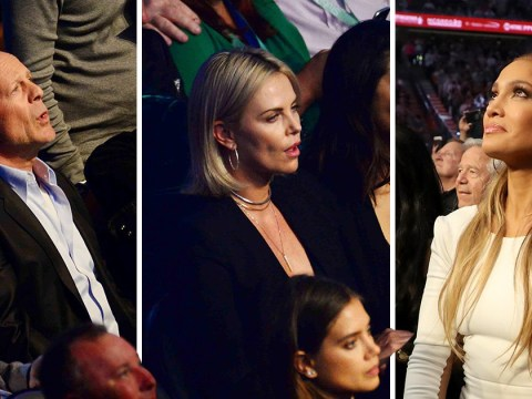 A-listers including Leonardo DiCaprio, Charlize Theron and Jennifer Lopez fill the audience at Mayweather vs McGregor fight