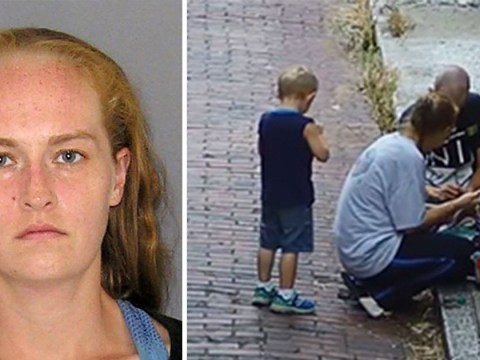 Mum caught on CCTV 'injecting heroin' beside son, 4, in broad daylight