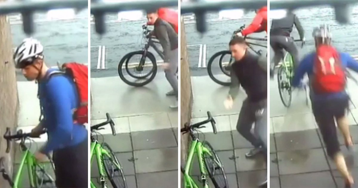 Cyclist filmed rugby-tackling thief who tried to steal his bike