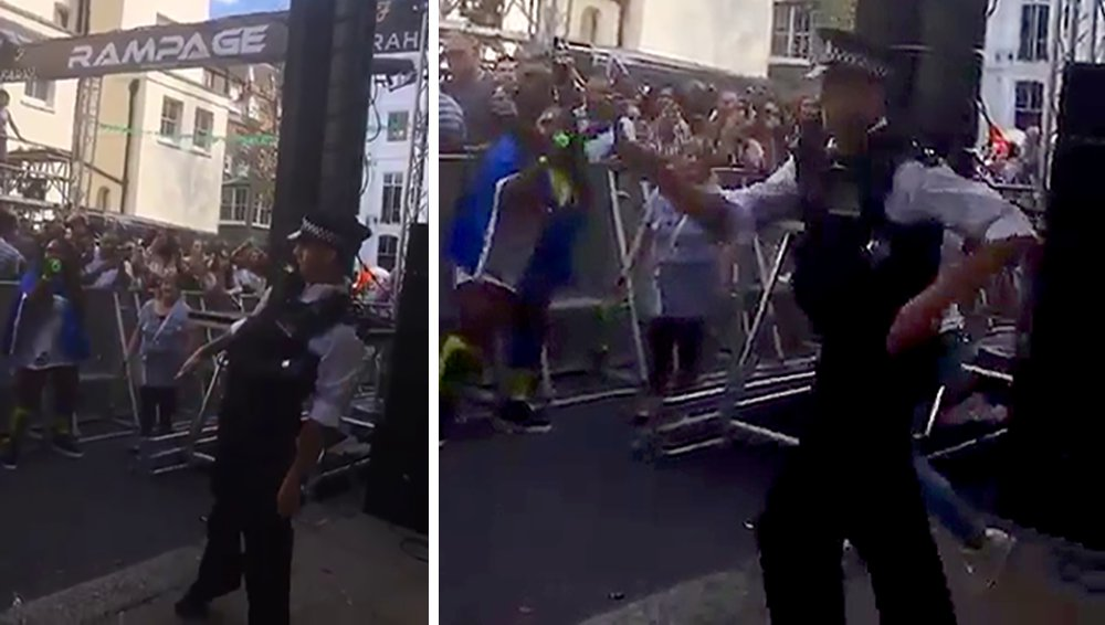 Dancing policeman shakes it up at Notting Hill carnival