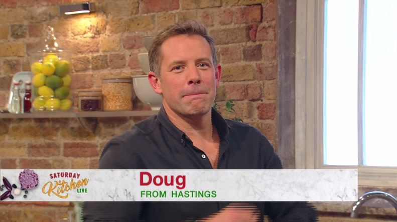 Saturday Kitchen's Matt Tebbutt holds back the giggles after caller says 'I've got crabs'