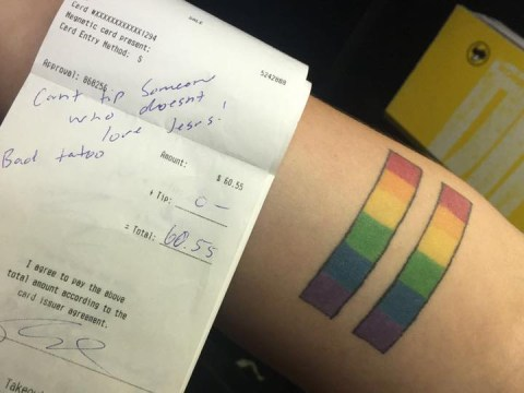 Gay waitress refused tip because she 'doesn't love Jesus'