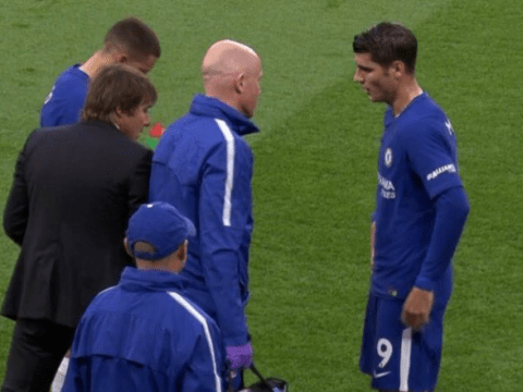 Alvaro Morata taken off with hamstring injury in Chelsea vs Manchester City