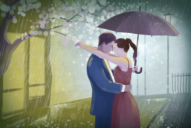 Illustration of couple with an umbrella embracing in rain