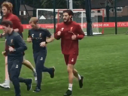 Liverpool star Adam Lallana running for the first time since injury