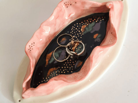 This ceramic vagina jewellery plate is all anyone's ever wanted