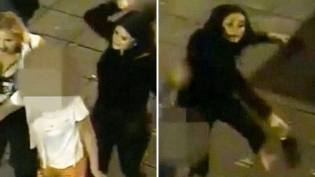Hunt for woman caught on CCTV attacking people with her stilettos