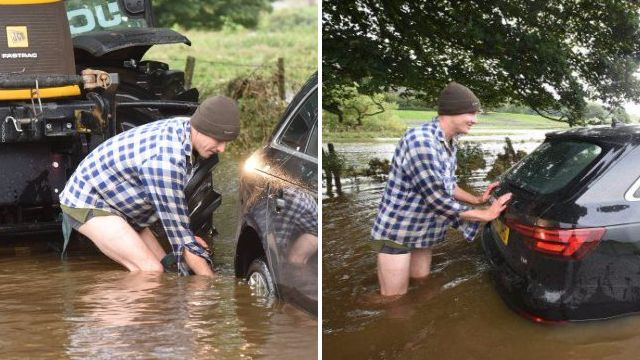 Farmer strips to his undies to rescue couple trapped in Storm Aileen floods