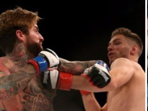 Geordie Shore's Aaron Chalmers KOs his opponent in 32 seconds as Gaz Beadle and Charlotte Crosby cheer him on