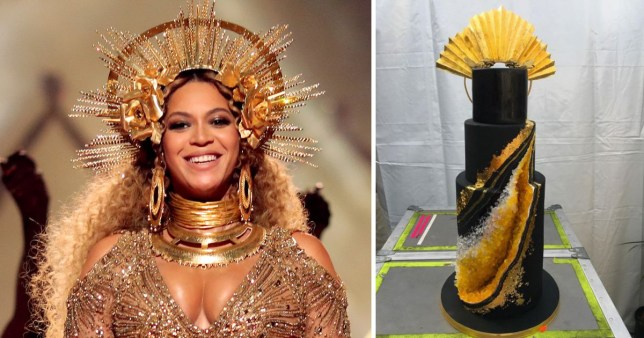 Swell Beyonces Incredible Birthday Cake Was Covered In Gold And Cost Personalised Birthday Cards Veneteletsinfo