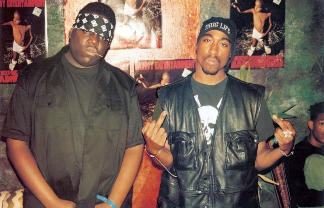 Tupac and Biggie posing together in 1994