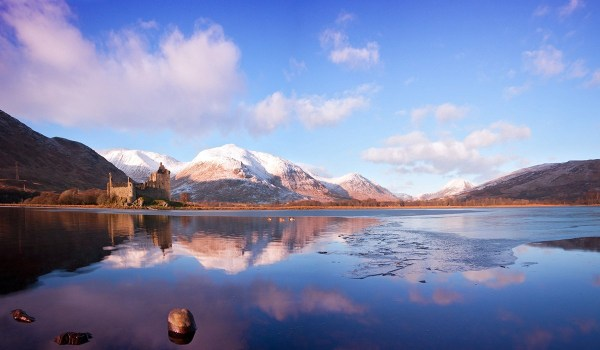Landscape of Loch Awe, with Kilchurn Castle in the background