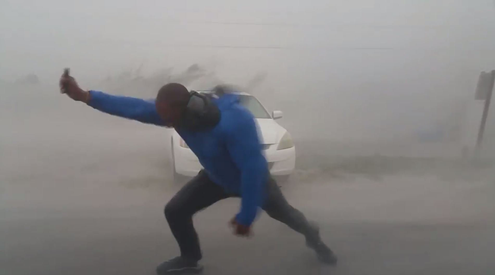 Storm-chasers get blown down Florida street trying to measure Hurricane Irma