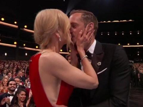 Nicole Kidman kisses Big Little Lies co-star Alexander Skarsgard on the lips in front of husband as he wins Emmy