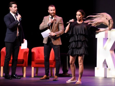 Katie Price whips off her wig on stage after losing hair to 'stress'