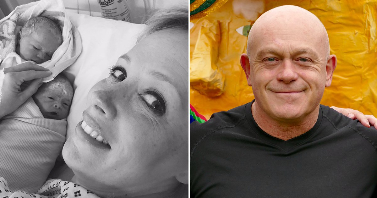 Ross Kemp introduces his twins to the world as he becomes a dad for the third time
