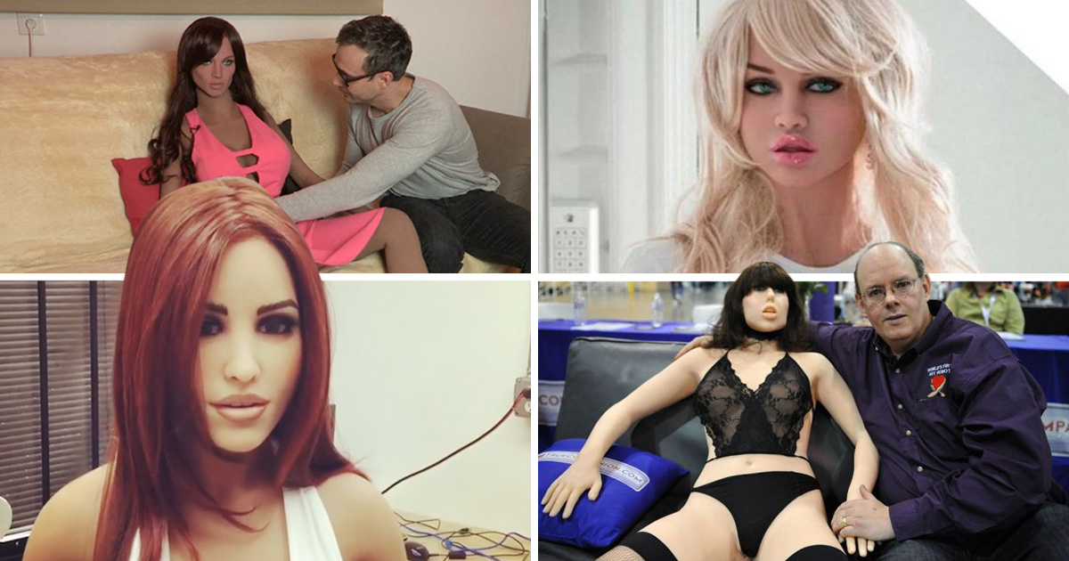 bottom right: Inventor Douglas Hines poses with Roxxxy, his company's 'True Companion' sex robot<br /> bottom left: Instagram / abyssrealdoll<br /> top left: (Picture: RUPTLY)<br /> top right: (Picture: Cascade)