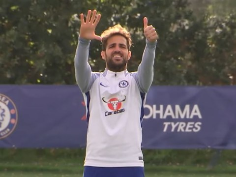 Cesc Fabregas beats Charly Musonda in sprint races during Chelsea training