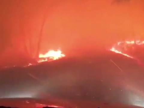 Couple film their terrifying escape from 'hell-scape' inferno