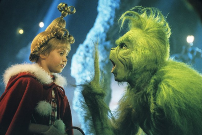 Still from the film How The Grinch Stole Christmas with Jim Carrey and Taylor Momsen