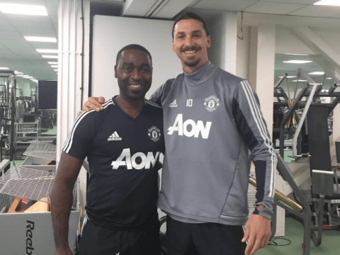 Zlatan Ibrahimovic training with Manchester United legend Andy Cole as he targets 2017 return