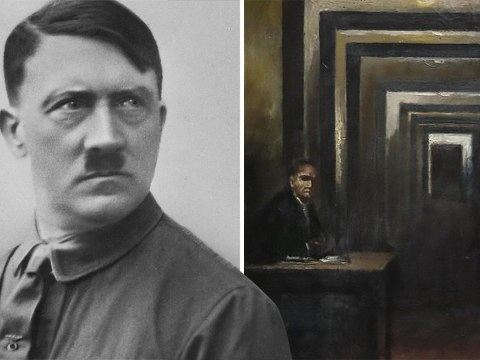 Screaming man attacks Adolf Hitler painting with a screwdriver in Italy