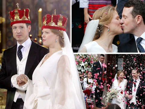 Serbian prince marries his beautiful bride in lavish Belgrade ceremony