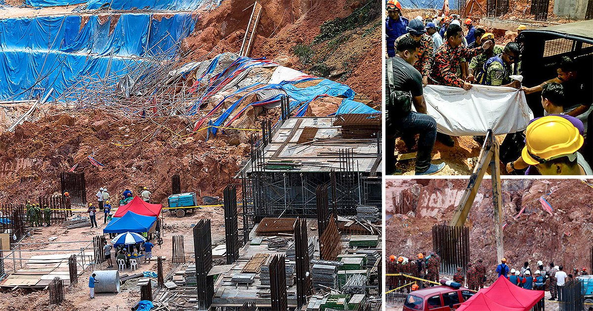 Rescuers carry body of landslide victim in horrifying picture