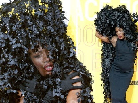 Grace Jones walks the red carpet in a bush, because why not