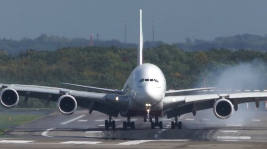 A380 wobbles all over runway as it lands in 20mph winds