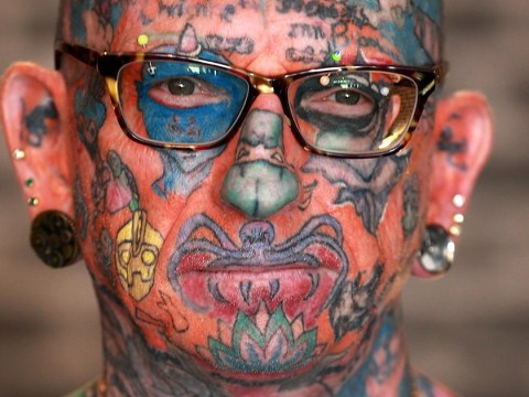 Tattoo addict only has two painful places to go before he's fully covered