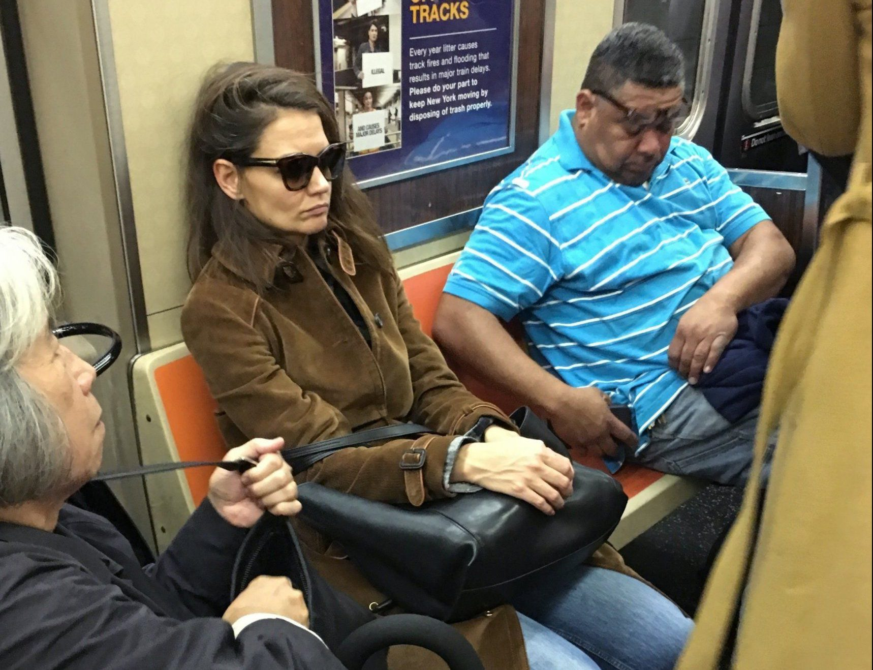 Katie Holmes snapped snoozing on New York subway