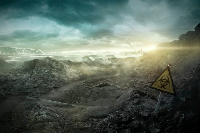 A wasteland with a biohazard sign (Credits: Getty Images)