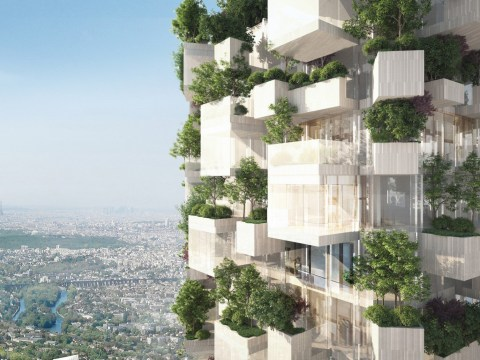 Block of flats covered in 2,000 trees, plants, and shrubs will double as a vertical forest in Paris