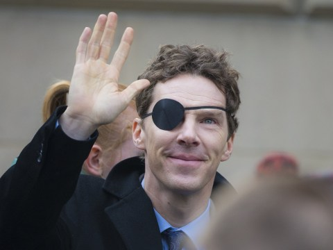 It's a case for Sherlock as Benedict Cumberbatch sports an eye patch during filming in Glasgow
